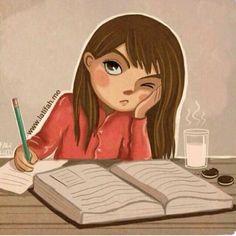 Hayyyyyyy Cute Girl Drawing, Cartoon Girl Drawing, Girl Cartoon, Cute Cartoon, Cartoon Art, Exam Wallpaper, Cartoon Wallpaper, Studying Girl, Girly Drawings