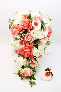 Cascade Bridal Bouquet Coral Picasso Callas Real Touch White and Coral Roses with Groom's Boutonniere - Customize for your Colors Bouquet En Cascade, Bridal Bouquet Coral, Cascading Wedding Bouquets, Bouquet Toss, Bride Bouquets, Bridal Flowers, Flower Bouquet Wedding, Bridesmaid Bouquet, Silk Flower Bouquets