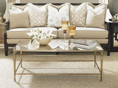 """Kensington Place"" collection, Antiqued Mirror Glass Cocktail Table, intimate seating - Lexington Home Brands Furniture"