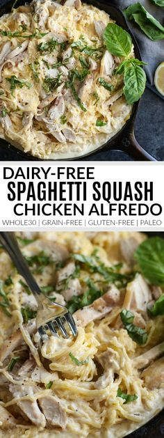 Nice Dairy-Free Spaghetti Squash Chicken Alfredo Sub out chik'n or put in broccoli and peas instead for vegan. The post Dairy-Free Spaghetti Squash Chicken Alfredo Sub out chik'n or put in broccoli … appeared first on Emmy's Designs . Whole30 Dinner Recipes, Gluten Free Recipes For Dinner, Paleo Dinner, Paleo Recipes, Whole Food Recipes, Dinner Healthy, Drink Recipes, Whole 30 Chicken Recipes, Soup Recipes