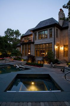 Outstanding Hot Tub Ideas To Create A Backyard Oasis Browse images of amazing hot tub designs and get some excellent tips and ideas to create your own relaxing backyard spa oasis. Future House, My House, Chicago Landscape, Traditional Landscape, House Goals, My Dream Home, Dream Homes, Resorts, Exterior Design