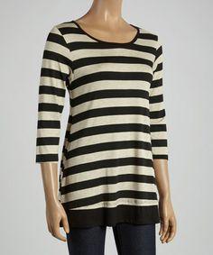 Oatmeal & Black Thick-Stripe Three-Quarter Sleeve Tunic by Chris & Carol #zulily #zulilyfinds