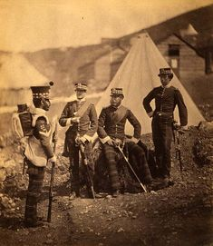 Group of the 71st Regiment with colour sergeant. Crimean War Photographs by Roger Fenton, 1855