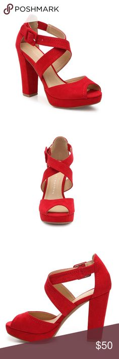 NEW Chinese Laundry Block Heels 1 inch platform, 4 inch block heel. Synthetic suede, bright red color. Adjustable buckle and stretchy elastic to help you slide them on. Super comfy. Brand new in box. Chinese Laundry Shoes Platforms
