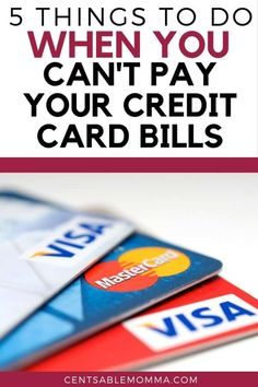 Things were going great until the unexpected happened. And now you're struggling to pay all your bills. Check out these 5 tips for what to do when you can't pay your credit card bills. Budgeting Finances, Budgeting Tips, Financial Success, Financial Planning, Wealth Management, Money Management, Ways To Save Money, Money Saving Tips, Family Budget