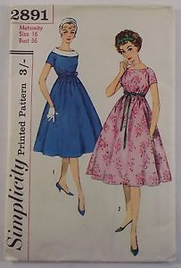 Vintage-Simplicity-maternity-dress-sewing-pattern-2891-B36-034-UNCUT-1950s
