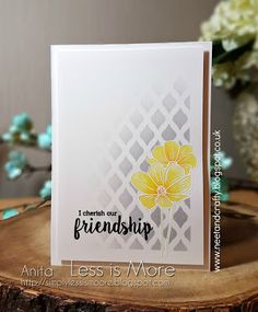 """Less is More"": Challenge - Yellow & Grey Sympathy Cards, Greeting Cards, Cool Cards, Unique Cards, Less Is More, Card Making Inspiration, Pretty Cards, Card Sketches, Distress Ink"