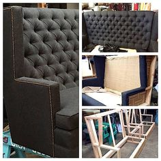Custom built wingback sofas - from frame to finishing touches!