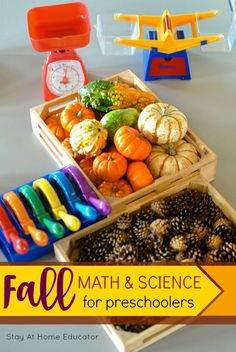 Fall Math and Science Center for Preschoolers - Teach your preschooler all how measurement and science with the nature based fall science and math center.