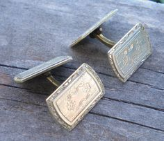 Antique Vintage Cufflinks Hayward Art Deco Both sides have the same decorative design.  Marked Hayward.  Each cufflink is about 3/4 of an inch long.