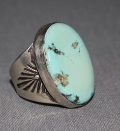 Gent's Light Blue Turquoise Ring, Jewelry by  Navajo