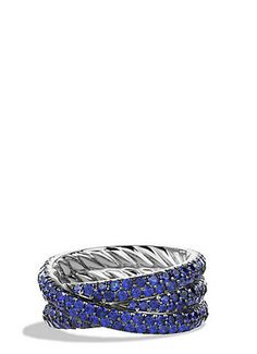 Crossover Ring with Sapphires in White Gold