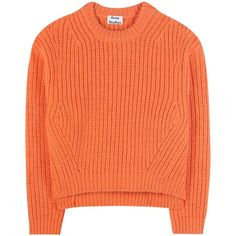 Acne Studios Hira Wool-Blend Sweater ($745) ❤ liked on Polyvore featuring tops, sweaters, jumper, orange, orange jumper, wool-blend sweater, red jumper, orange sweater and red top