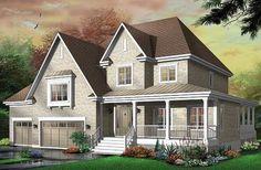 Grande maison champêtre 3- 4 chambres, garage triple, 2 salons, bureau   http://www.dessinsdrummond.com/detail-plan-de-maison/info/1001675.html