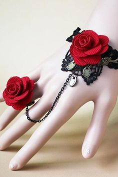 Gothic Lace Slave Bracelet & Flower Ring SEXY Vintage Emo Punk Costume…