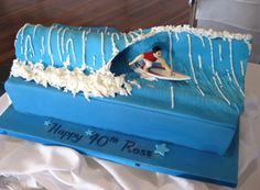 A great idea for a teenage birthday x Dad Birthday Cakes, 11th Birthday, Diy Birthday, Birthday Ideas, Surfer Cake, Surfboard Cake, Surfer Party, Wave Cake, Piano Cakes