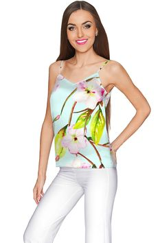 Shop Muse Ella V-Neck Camisole - Women Fashionable and chic Ella v-neck camisole in graceful floral print is made from luxurious, opaque, eco-friendly chiffon-charmeuse. This feminine and flirty top has all-occasion possibilities and flatters most body types. Every girl and woman should have our multipurpose Ella cami in her closet. It will look great with all kinds of bottoms: jeans, shorts, skirts and classic pants. An excellent choice for daytime and evening, casual and dressy wear. THE…