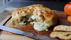 Baked Stuffed Brie - Brie en Croute stuffed with Cranberries & Walnuts