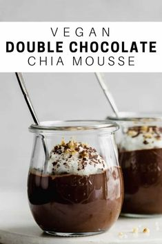 Wholesome Meals This vegan double chocolate chia mousse is loaded with rich chocolatey flavour and made with wholesome ingredients. You'll love this decadent (but still rather healthy) dessert! Köstliche Desserts, Vegan Sweets, Healthy Dessert Recipes, Gourmet Recipes, Whole Food Recipes, Delicious Desserts, Vegan Recipes, Dinner Recipes, Healthy Chocolate Mousse
