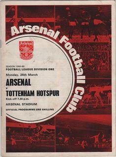 Vintage Football Programme - Arsenal v Tottenham Hotspur, 1968/69 season.
