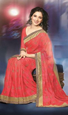 Tamannaah Pink Shade Silk Saree Price: Usa Dollar $104, British UK Pound £61, Euro77, Canada CA$113 , Indian Rs5616.