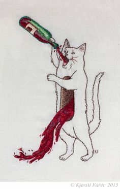 """kjerstifaret: """"No Amount Of Wine Can Fill This Void But I'm Going To Try Anyway Hand embroidery with beadwork accents. 2015 by Kjersti Faret *Please don't remove description or credit! Art Inspo, Kunst Inspo, Art Sketches, Art Drawings, Pencil Drawings, Art Du Croquis, Trash Art, Art Textile, Arte Horror"""