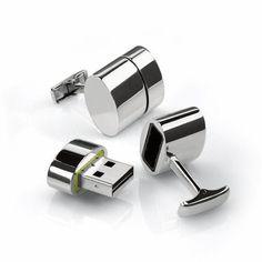 超かっこいい…2GBのUSBメモリとWifi Hotspot機能内蔵のカフリンクス | IDEA HACK