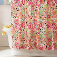 Paisley Pop Shower Curtain - Dark Pink #potterybarnteen