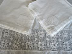 Vintage Filet Crochet Lace Inset Tablecloth Napkins White Precale. $29.00, via Etsy.
