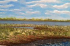 Early spring at Dyke marsh, pastel on rag board.