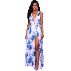 Amazon.com: Romper Split Maxi Dress High Elasticity Floral Print Short Jumpsuit Overlay Skirt for Summmer Party Beach ¡: Clothing