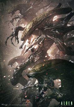 Stunning #Alien artwork by John Giang for the Alien Visions book https://www.artstation.com/artwork/VNOG5