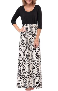 Zattcas Womens Dresses Contrast 3/4 Sleeve Empire Waist Floral Maxi Dress at Amazon Women's Clothing store: