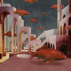 Daria Petrilli, Red Fish, Surrealism, Dinosaur Stuffed Animal, Fine Art, Toys, Animals, Paintings, Illustrations