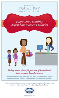 49,000,000 million children depend on women's salaries. Support equal pay for equal work.