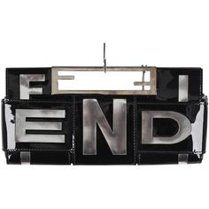 Preowned Fendi Black Patent Leather Crossword Clutch Bag Handbag (£290) ❤ liked on Polyvore featuring bags, handbags, clutches, black, patent handbags, fendi pochette, holographic purse, top handle purse and color block handbags