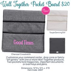Wall Together Pocket Board by Thirty-One. Fall/Winter 2016. Click to order. Join my VIP Facebook Page at https://www.facebook.com/groups/1603655576518592/