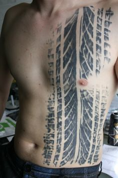If you love car tires, this tattoo design is for you! covering the entire left side of the torso, it features intricately-detailed, highly-realistic car Future Tattoos, New Tattoos, Tattoos For Guys, Cool Tattoos, Tatoos, Chevy Tattoo, Jeep Tattoo, Tattoo Sleeve Designs, Tattoo Designs For Women
