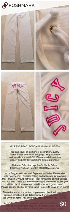 """White Juicy Velour Lounge Casual Active Wear XS Made by: Juicy Size XS White Velour Drawstring Lounge Wear Pant Material: 78%Cotton/22%Polyester Drawstring holder has Logo on them and rear of pants states name in Hot Pink. Measurements: Flat across Waist 13.5""""+Stretch Rise 7.5"""" Inseam 32.5"""" These are in very nice condition. Perfect Hems, No stains etc., they just don't get worn. Please see my anytime Sale and Bundle Posters. Thank you for browsing my closet. Juicy Couture Pants"""
