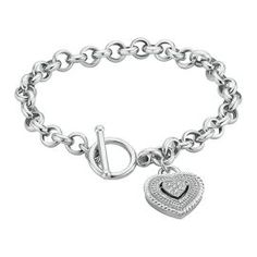 .01ct TW Heart Charm Diamond Bracelet - Diamond Bracelets - Bracelets - Jewelry - Helzberg Diamonds #HelzbergDiamonds #crazypinlove tabbysue's dream v day