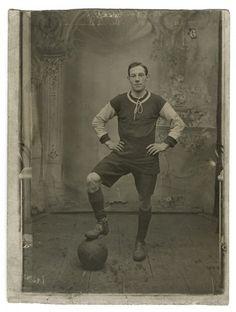 RPPC. Arresting old photo of a footballer. Circa 1910. Football interest. Sport.  $10.00