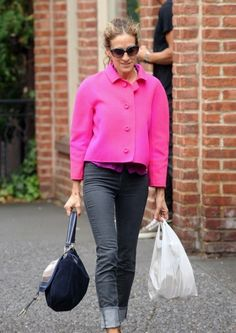 Sarah Jessica Parker in a pink jacket