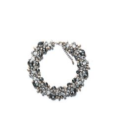 ZARA Necklace with Flowers and Strass Stone Crystal Necklace Colar Fashion, Fashion Necklace, Fashion Jewelry, Flower Necklace, Crystal Necklace, Bracelets, Jewelry Necklaces, Jewellery, Jeweled Shoes