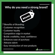 Why do you need a strong brand? 7 Benefits of Branding:⠀ - Customer recognition - Customer loyalty - Competitive edge in market - Builds credibility, trust, confidence - Enhances ease of purchase - Attracts talent - Easy introduction of new products Inbound Marketing, Content Marketing, Business Fonts, Brand Names And Logos, Building An Empire, Greater Good, Family Values, Of Brand, Loyalty