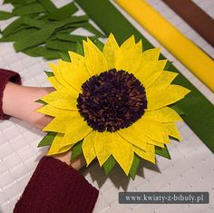 Sunflower bouquet of flowers from crepe paper