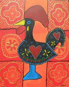 Galo de Barcelos Cc Cycle 3, Rooster Art, Genealogy, Fat, Printables, Patterns, Painting, Life, Paintings
