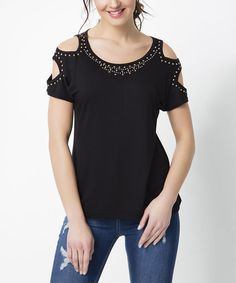 Add an edgy twist to your warm-weather wardrobe with this chic tee featuring bold cutout detail along the sleeves and studded accents. Size note: This item is from a European brand. Please refer to the size chart to ensure best fit. Shipping note: This item is shipping internationally. Allow extra time for its journey to you.