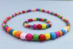 Wholesale Design colourful Wooden Bead Cute Necklace Bracelet Party Gift for Girls Children/Kid/baby Beautiful Jewelry Set