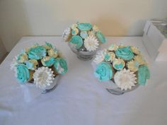 Cupcake bouquet centrepieces. 8 cupcakes and 7 mini cupcakes, displayed in a pretty bowl. Make a unique addition to your tables and a fun talking point! A big hit with wedding guests!