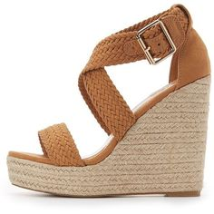 Charlotte Russe Braided Espadrille Wedge Sandals ($25) ❤ liked on Polyvore featuring shoes, sandals, brown, brown strappy sandals, strap sandals, brown sandals, criss cross strap sandals and platform espadrilles